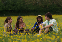 Students in a field